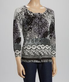 Another great find on #zulily! Black & White Baroque Three-Quarter Sleeve Cardigan - Women by Joseph A #zulilyfinds