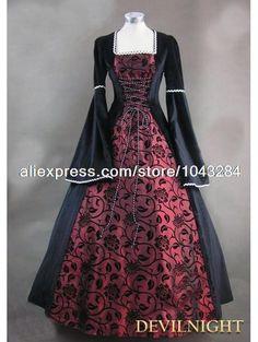Zwart en wijnrood bloemmotief middeleeuwse renaissance kostuum gratis verzending(China (Mainland))