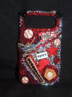 Swarovski Crystal blinged baseball cell phone case. Great idea!!!