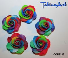 5pcs Rainbow Rose CABOCHON  Rose beads of Polymer clay, Flower cabochon Handmade clay flower-Code: 038 di FlowerClaySupplies su Etsy