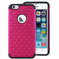 Apple iPhone 6 6S IMPACT XB Bling Hybrid Case, Hot Pink ($9.95) ❤ liked on Polyvore featuring accessories and tech accessories