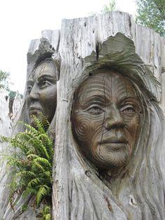 Maori carvings, New Zealand, Oceania