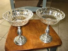 """BEAUTIFUL 9"""" BY 7""""  LARGE PAIR 1897 ELKINGTON SILVER COMPOTES WITH CRYSTAL BOWLS #ELKINGTONSILVER1897"""