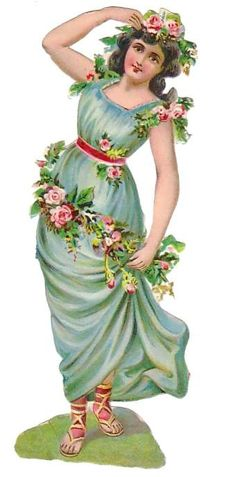 Girl with Roses and Blue Gown