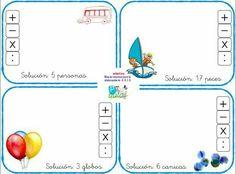 Fichas de primero para inventar problemas. Go Math, Montessori Activities, Map, Reading, School, Google, Visual Aids, Math Word Problems, Professor