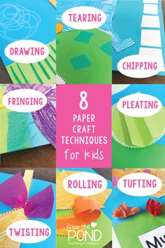 Paper Craft Techniques to help make craft in the classroom more complex and creative. Apply these skills to any creative project. Classroom Art Projects, Craft Projects For Kids, Art Classroom, Primary Classroom, Craft Ideas, Kindergarten Activities, Art Activities, Classroom Activities, Toilet Paper Roll Crafts