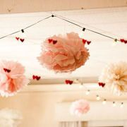 crocheted heart garland and poms