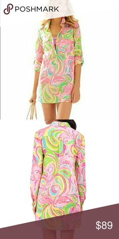 "New Lilly Pulitzer Tunic All Nighter Flamingo M This is a new Lilly Pulitzer captives Tunic. Size medium. It is the all nighter print. 93% Viscose/7% Spandex Imported Button closure Machine Wash Tunic shirt in marine-life motif featuring spread collar, two button-flap chest pockets, and gold-tone button placket Shirttail hem Long convertible sleeves with button-tab keepers Bust 44"" length 35"". No flaws. Lilly Pulitzer Dresses Midi"