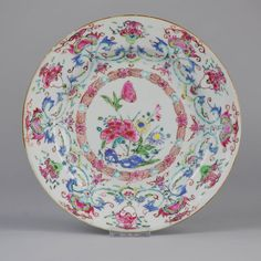 Antique 18C Chinese Porcelain Famille Rose Plate Highly decorated Flowers. OSELLAME' Collection.