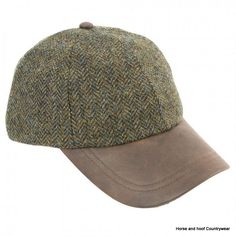 Heather Hats Tyndrum Tweed Leather Peak Baseball Cap - Green HB Genuine leather peak baseball cap The crown of the Tyndrum is made from 100 British