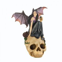 NEW!! Bat Fairy On Skull Figurine  Decorate your shelf with a touch of dark mystery!