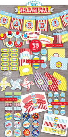 CARNIVAL PARTY PRINTABLES for a carnival birthday, carnival baby shower, school carnival and more! Carnival party printables to make Circus 1st Birthdays, 1st Birthday Party Themes, Carnival Birthday Parties, Circus Birthday, 1st Boy Birthday, First Birthdays, Circus Baby, Birthday Ideas, Turtle Birthday