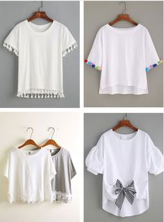 Come trasformare una T shirt banale in una molto chic Diy Clothes Refashion, Diy Clothing, Techniques Couture, Diy Fashion, Fashion Design, Fashion Tips, Mode Streetwear, T Shirt Diy, Personalized T Shirts