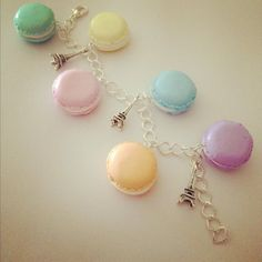 french macaroon polymer clay charm bracelet by Dottyandthebug, £9.99