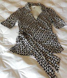 DVF Diane von Furstenberg Printed Wrap Blouse Silk Sz 4 Black & Cream #DianevonFurstenbergDVF #WrapBlouse #Casual