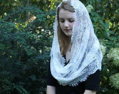 Your place to buy and sell all things handmade Chapel Veil, String Of Pearls, Tiny Star, Spanish Style, Cream White, Our Lady, Shawls And Wraps, Etsy Vintage, Soft Fabrics