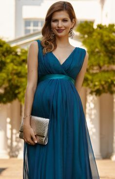 Ava Maternity Gown Long Aegean Blue by Tiffany Rose