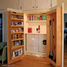 Space saving ... hidden laundry room