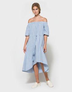 striped off the shoulder dress // farrow
