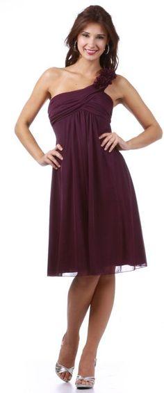 Short Plum Wedding Guest Dress Empire Waist Knee Length One Shoulder $87.99