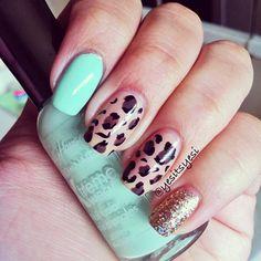Mint cheetah and glitter.