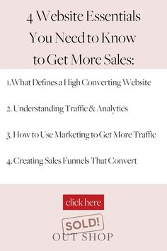 Learn how to sell more products online with high converting websites, understand traffic and analytics, dive into marketing, and create sales funnels with Sold Out Shop. Website Analysis, Business Sales, Sales Tips, Online Sales, Growing Your Business, Need To Know, Ecommerce, Helpful Hints, How To Get