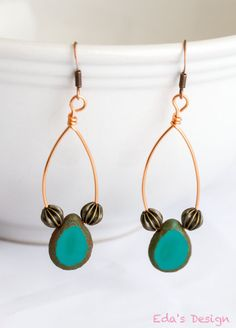 Teal Briolette and Copper Earrings by Eda's Design on Etsy