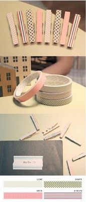 Washi Tape Clothes pins. This could be done with the clothes pins I use to hand artwork up. :)