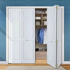 Kimberly Bay Paneled Wood Primed Bi-Fold Door Size: x Folding Closet Doors, Bedroom Closet Doors, Closet Door Redo, Double Closet Doors, Accordion Doors Closet, Bi Fold Doors, Basement Closet, Closet Mirror, Master Bedroom