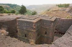 "The Church of St. George (Amharic: Bete Giyorgis) is one of eleven monolithic churches in Lalibela, a city in the Amhara Region of Ethiopia. Carved from solid red volcanic rock in the twelfth century, it is the most well known and last built of the eleven churches in the Lalibela area, and has been referred to as the ""Eighth Wonder of the World""."