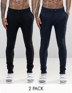 ASOS BRAND ASOS Loungewear Super Skinny Joggers 2 Pack SAVE 17%