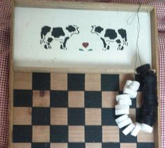 Vintage Large Primitive Country Cow Checkerboard With Wood Heart Shape Checkers, Ready To hang Or Display On A Table