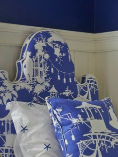 Oomph - Charleston headboard - shown in a favorite Thibaut fabric. Decor, Blue White Decor, Custom Upholstered Headboard, Headboard, Blue And White, Blue, Chinoiserie Chic, Beautiful Bedrooms, Blue Rooms