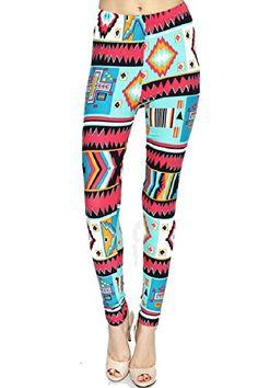 Women's Pink & Aqua Tribal Fashion Leggings