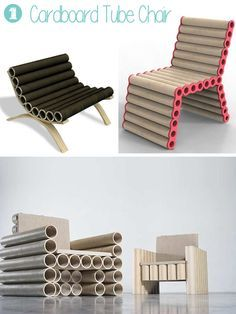 You can make simple chairs out of pile of tubes - a wooden, plastic or plywood frame will be necessary. Here chairs made by professional designers: (1) ...