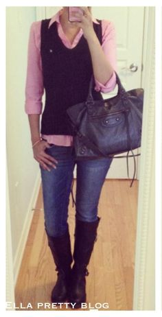 Ella Pretty: Vest: Old Navy, Shirt: H&M, Jeans: Garage, Boots: Old Navy, Bag: Balenciaga City
