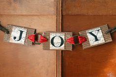 """JOY"" Banner Using Horse Harness Parts. Source: Mamie Jane's blog."