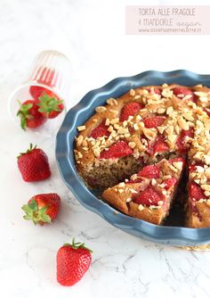 torta fragole e mandorle #vegan #diversamentelatte