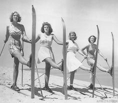 September 25 1938 AP Photo caption: They ski on sand not snow. These debutan Ski Chalet, Ski Ski, Alpine Skiing, Snow Skiing, Ski And Snowboard, Snowboarding, Vintage Ski Posters, Ski Bunnies, Skier