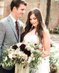 Romantic maroon and blush bouquet: Photography : Trent Bailey Photography Read More on SMP: http://www.stylemepretty.com/little-black-book-blog/2016/07/26/most-romantic-spot-new-orleans-french-quarter/
