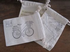 stamped muslin pouch