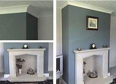 Feature wall fireplace breast painted in Dulux feature wall Wise sage and surrounding walls in Chalk stone.
