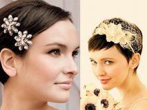 Acconciatura da sposa capelli corti accessori sposa