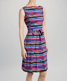 Look what I found on #zulily! Purple & Black Stripe Sleeveless Dress by Voir Voir #zulilyfinds