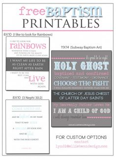 Baptism Ideas - FREE LDS Printables and Invitation Graphics | Ellie Bean Design
