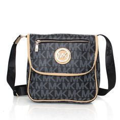 #MKTimeless Modern Design Michael Kors Logo Monogram Zip Large Black Crossbody Bags Are Waiting For You To Come And Visit Here!