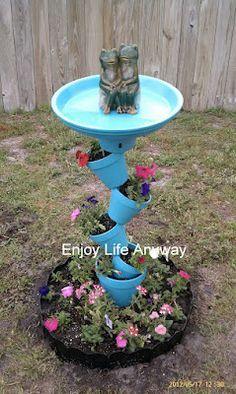 Enjoy Life Anyway: DIY Bird Bath    Topsy Turvy Bird Bath planter - how cool!