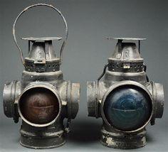 Pair of antique Santa fe Railroad Lanterns c 1900