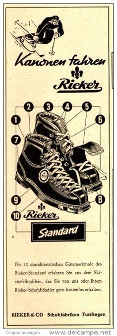 Original-Werbung/Anzeige 1950 - RIEKER SKI-STIEFEL / RIEKER TUTTLINGEN - ca. 60 x 200 mm