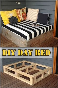 You'll definitely enjoy spending more time outdoors than in your bedroom when . You'll definitely enjoy spending more time outdoors than in your bedroom when you have a daybed like this on your porch or deck! Is this going to be your next DIY project? Diy Home Decor Projects, Home Improvement Projects, Decor Ideas, Decorating Ideas, Diy Ideas, Diy Bedroom Projects, Pallet Projects Signs, Interior Decorating, Project Projects